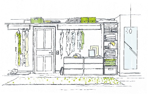 Illustration of a wardrobe made up of individual shelf and drawer elements
