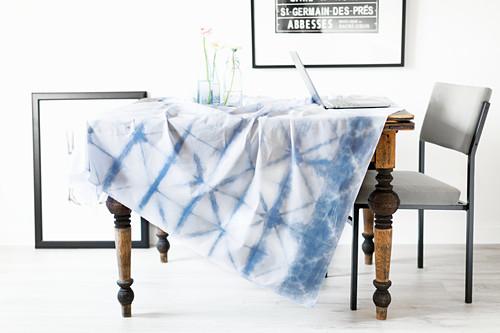 Tablecloth hand-dyed using Shibori technique