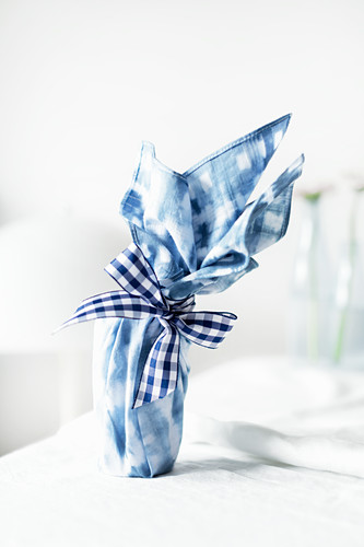 Gift wrapping made from old handkerchief and hand-dyed using Shibori technique