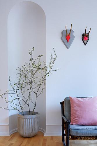 Topfpflanze in Rundbogennische, daneben Bank mit Polsterauflage und Kissen