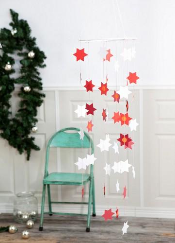 Hand-made mobile paper Christmas stars