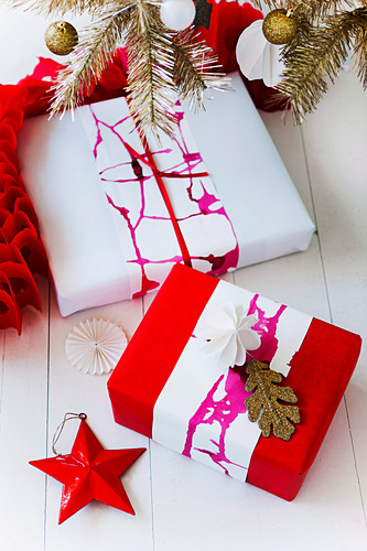 Wrapped gifts wrapped with colored paper