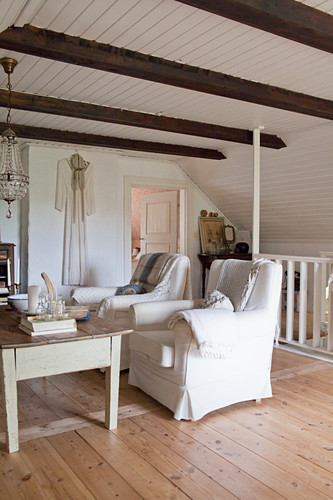 Two White Armchairs In Rustic Living Buy Image 12358323 Living4media
