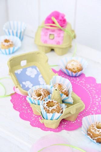Mini bundt cakes in egg box as gift