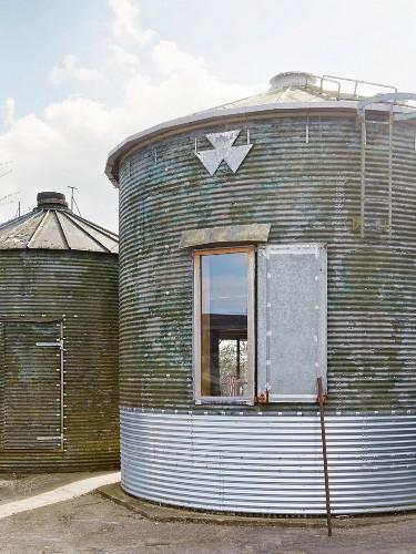Window in façade of converted silo