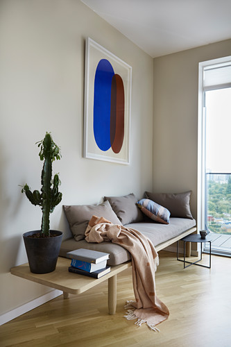 Cactus on simple wooden bench with pale beige cushions