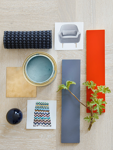 Mood board of materials, photos and colours