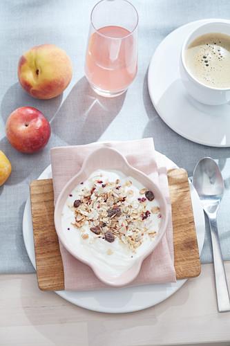 Muesli and fruit for breakfast