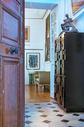 Open door leading into artist's apartment
