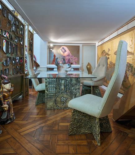 Exotic dining room in artist's apartment