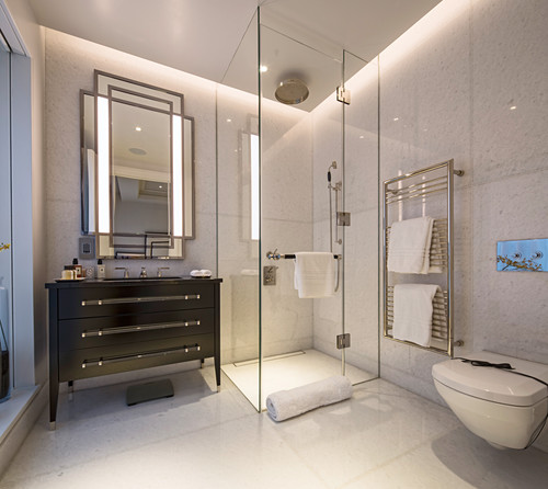Glass shower cabinet in elegant bathroom, Ten Trinity Square, London