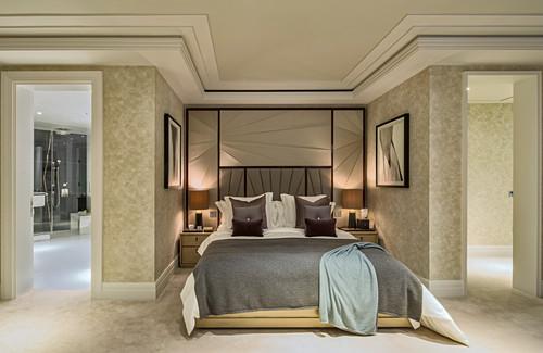 Double bed in elegant bedroom, Ten Trinity Square, London