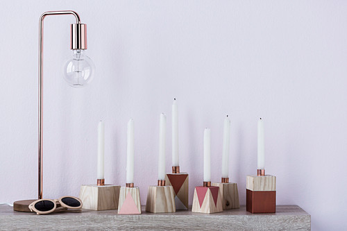 DIY candle holder and copper table lamp