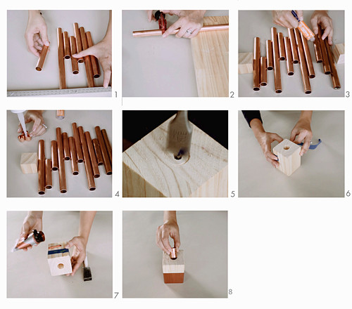 Make candle holders from wooden blocks and copper pipe