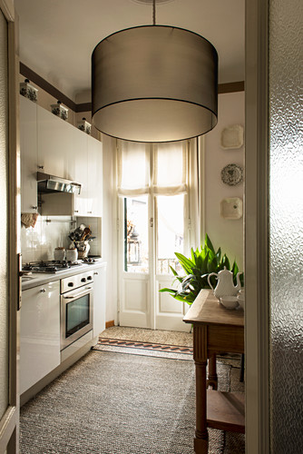 Modern ceiling lamp in classic kitchen-dining room