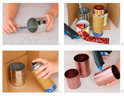 Instructions for making an organiser from tin cans