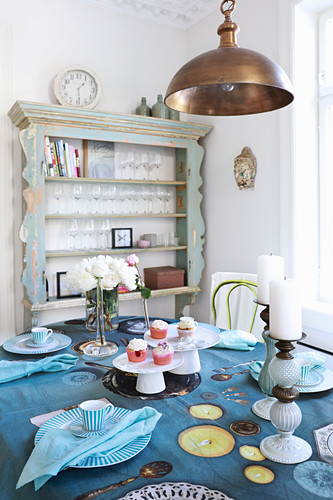 Table set with printed tablecloth