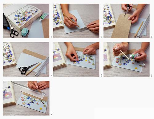 Anleitung für Postkarte mit gepressten Blumen und Jutestoff