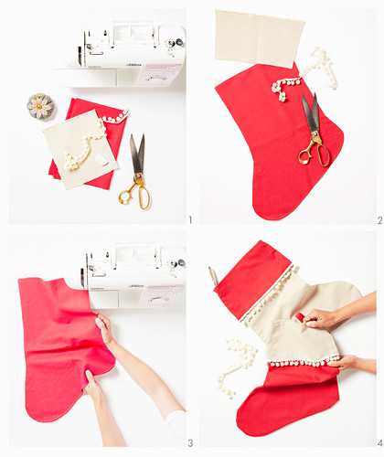 Instructions for a Christmas stocking with pom pom trim