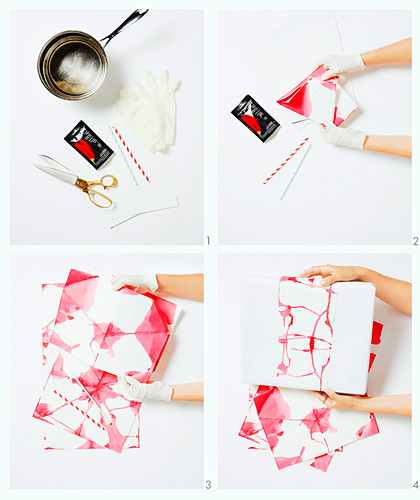 Instructions for gift wrapping with banderole made from colored paper