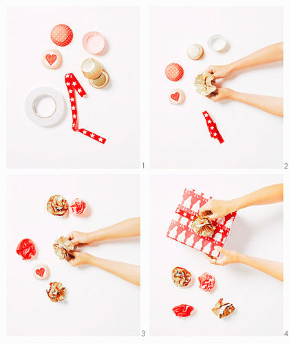 Instructions for flowers from muffin cuffs for gifts