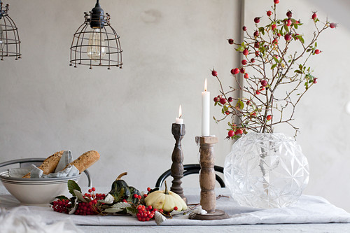 Wintry rustic arrangement on table