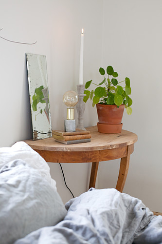 Simple accessories on semicircular wooden table