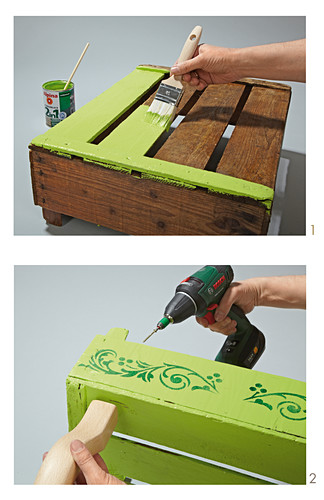 Instructions for making a small table from a painted fruit crate and table legs