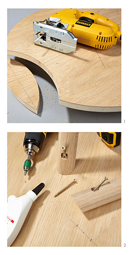 Instructions for making a round three-legged table with cut-out