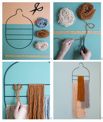 Instructions for making a wall hanging of woollen tassels