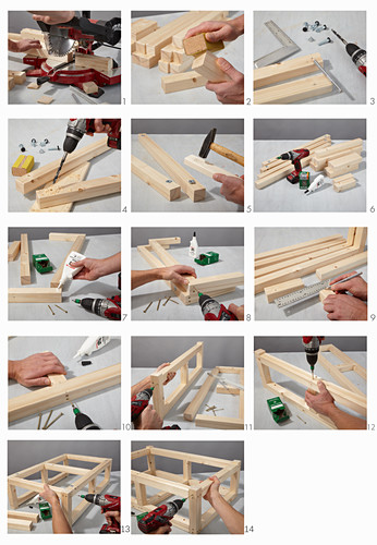 Instructions for making a wooden coffee table frame