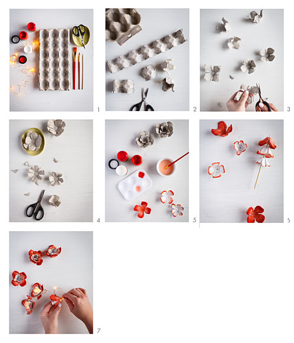Instructions for making fairy lights with flower decorations from egg boxes