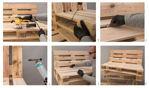 Instructions for making a bench from pallets