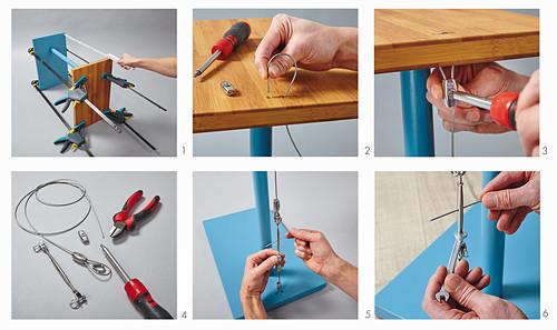 Anleitung für einen Beistelltisch mit Bambusplatte und Stahlseil