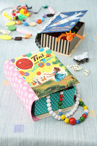 Hand-crafted boxes made from old book covers
