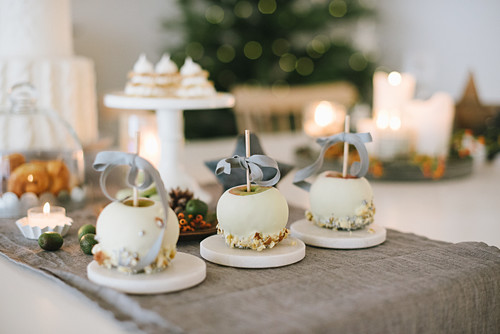 White chocolate apples on Christmas table