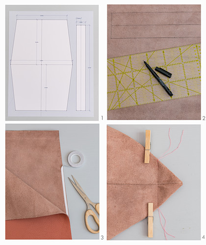 A leather shopping bag being made