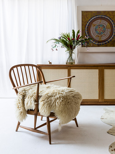 Sheepskin on 50s Windsor armchair