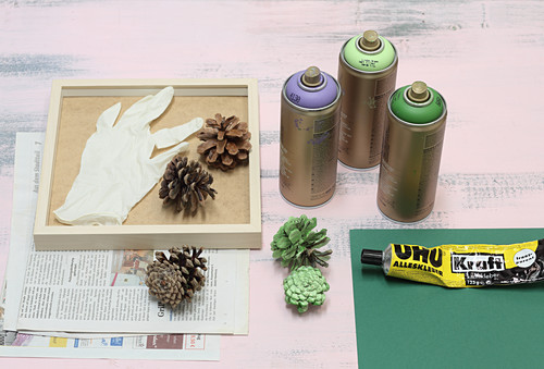 Making fake succulents from pine cones