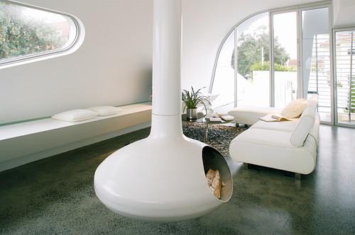 Hanging designer fireplace in futurist living room