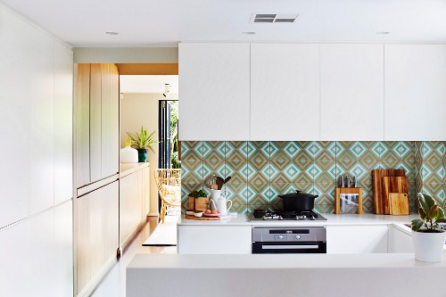 Splash Guard With Patterned Wall Tiles