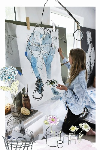 Artist in painter's studio with flowers and pots drawn in foreground