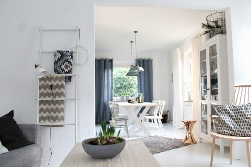 Planted bowl on coffee table and view into dining area next to windows in open-plan interior
