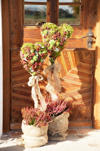 Moss hearts with fruits, honesty, heather and houseleeks in front of exterior door