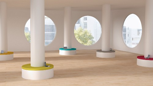Modern workspace, columns with seats, laptops; 3D rendering