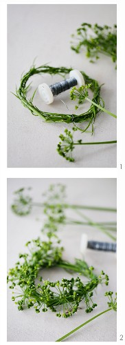 Tying a wreath of ramsons