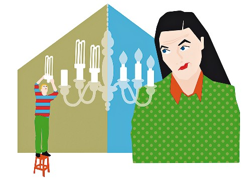 An illustration on the topic of 'energy savings' depicting the conflicting opinions of a woman and a man