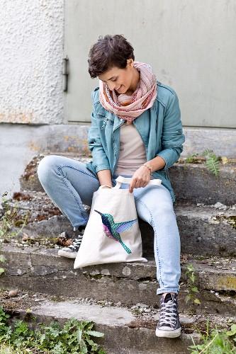Homemade embroidered bag