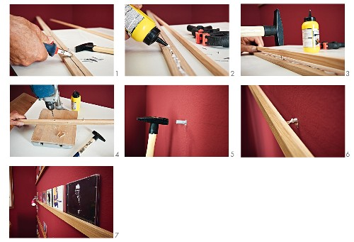 Instructions for making a narrow shelf and mounting it on a wall