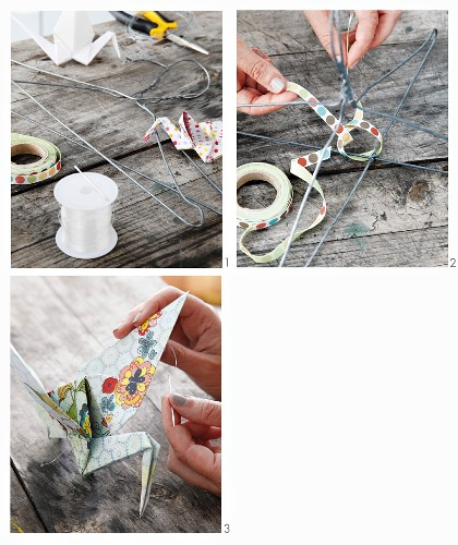 Attaching origami cranes to wire frame
